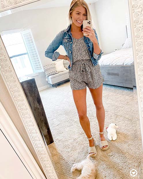 Romper And Denim Jacket Summer Fashion Idea 2021