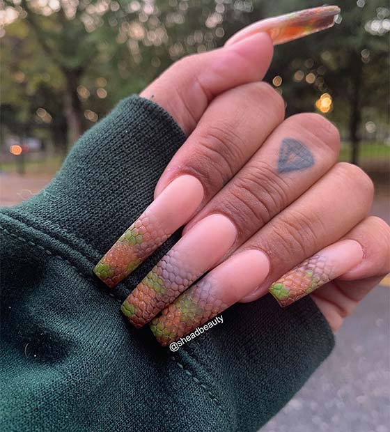 Unique Nude Ombre With A Snake Pattern