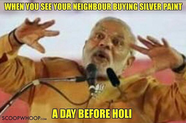 When You See Your Neighbour Buying Silver Paint At Holi Meme