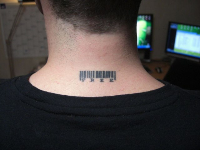 Bar Code With Word Free Neck Tattoo