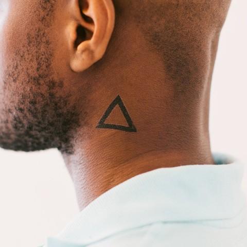 Simple Triangle Neck Tattoo Design