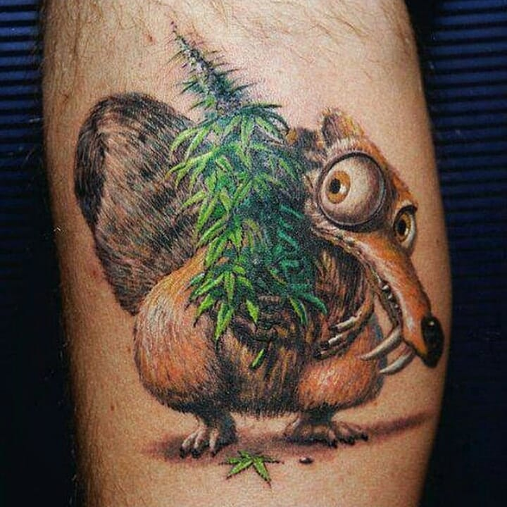 Awesome 3d Weed Tattoo For Mens