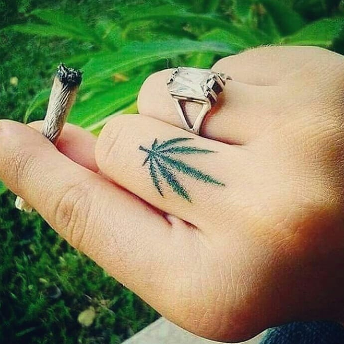 Awesome Weed Tattoo On Finger