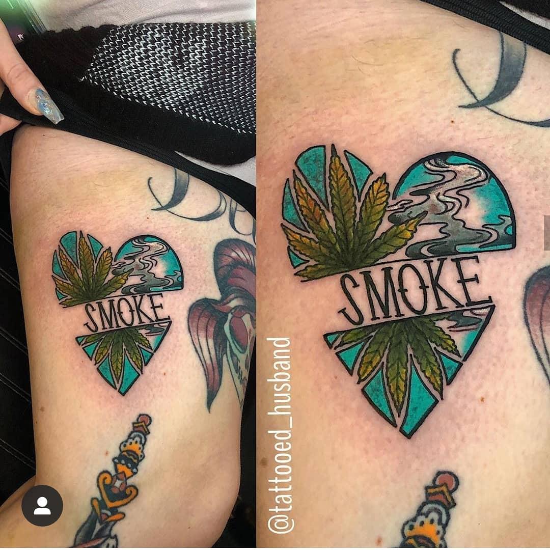 Awesome Weed Tattoo With Marijuana Leaf