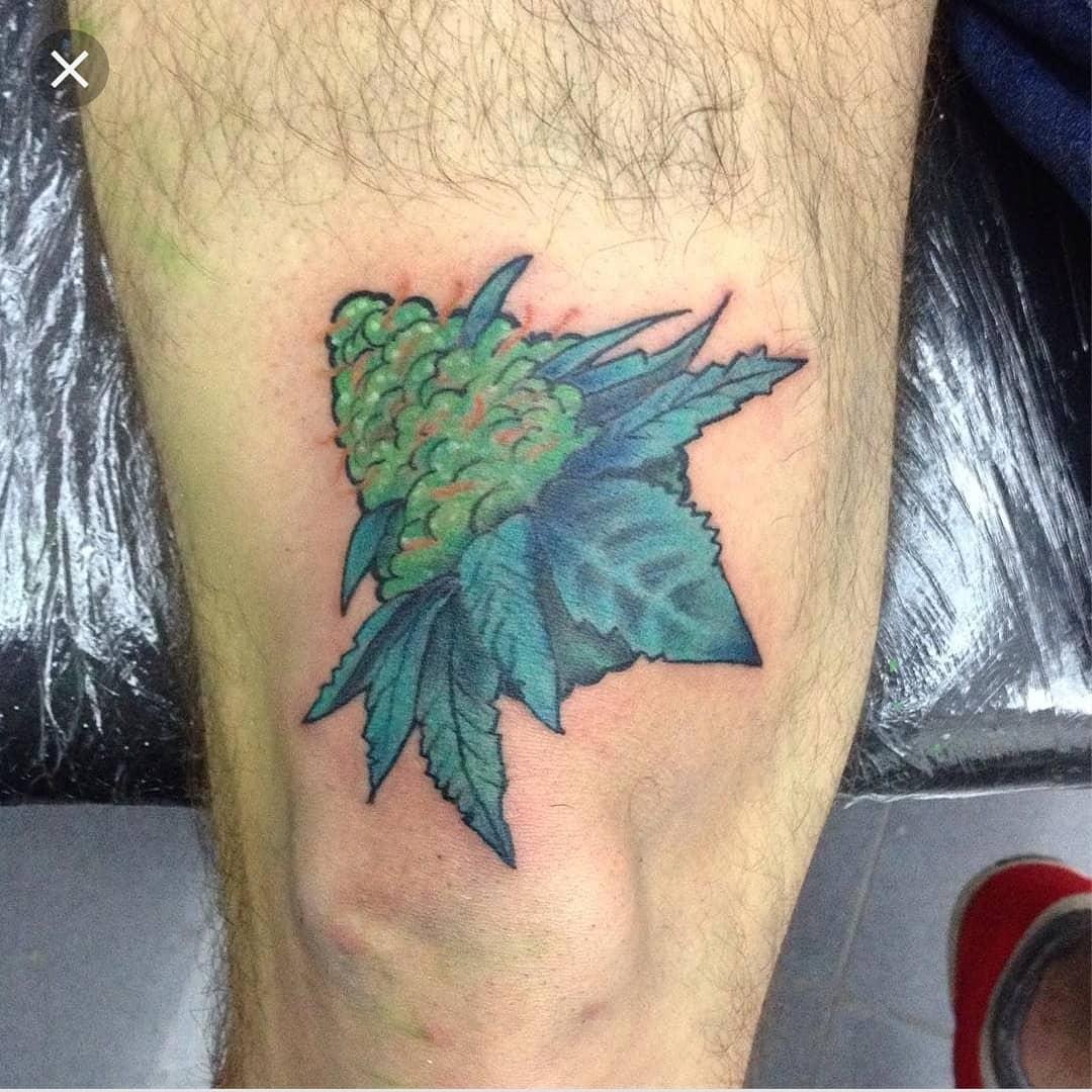 Best Marijuana Weed Tattoo Design On Leg