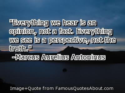 ''everything We Hear Is An Opinion Not A Fact. Everything We See Is A Perspective, Not The Truth''