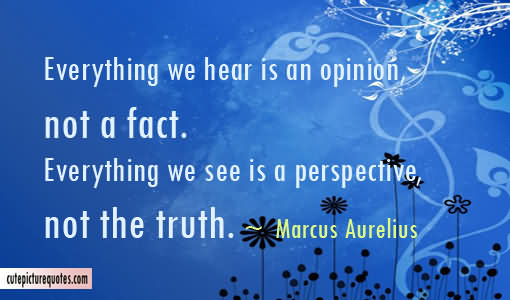 Everything We Hear Is An Opinion Not A Fact. Everything We See Is A Perspective, Not The Truth Quotes