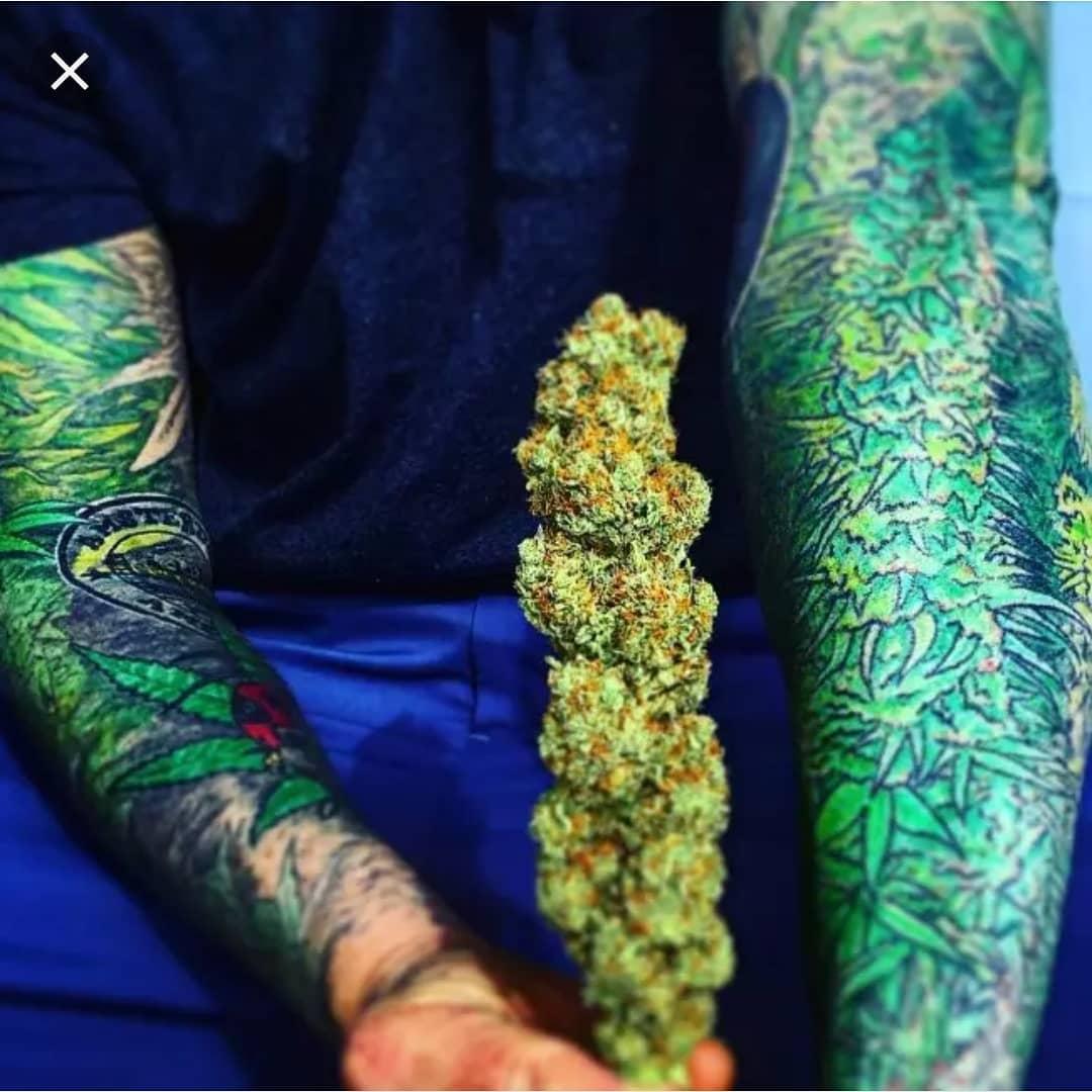 Full Sleeves Weed Tattoo Design