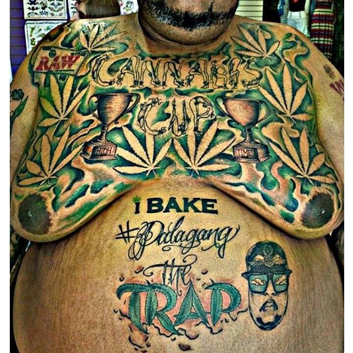 Funny Fatty Man Marijuana Leaf On Cheast Weed Tattoo
