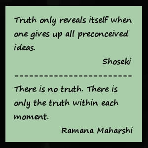 Truth Only Reveals Itself When One Gives Up All Preconceived Ideas. There Is No Truth. There Is Only The Truth Within Each Moment