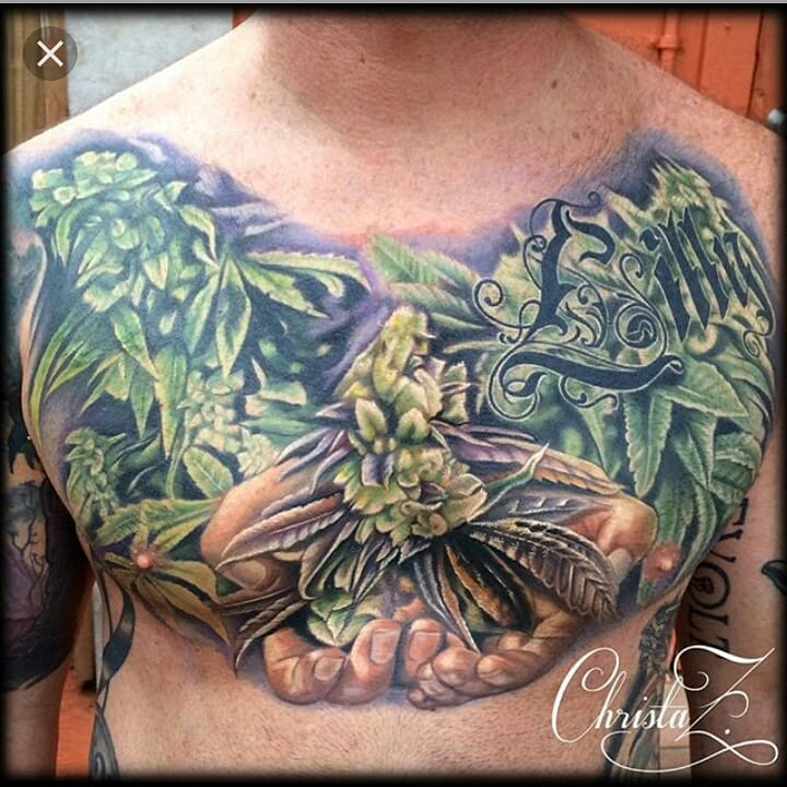 Weed Lover Tattoo On Cheast